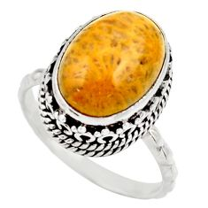 Natural fossil coral petoskey stone 925 silver solitaire ring size 8 d36038
