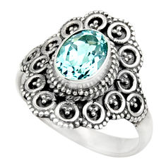 Clearance Sale- 2.11cts natural blue topaz 925 sterling silver solitaire ring size 7.5 d36041