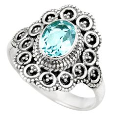 925 sterling silver 2.11cts natural blue topaz oval solitaire ring size 9 d36045