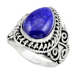 Clearance Sale- 6.32cts natural blue lapis lazuli 925 silver solitaire ring size 8 d36057