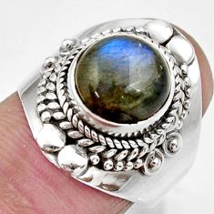 Clearance Sale- 5.53cts natural blue labradorite 925 silver solitaire ring size 7.5 d36059