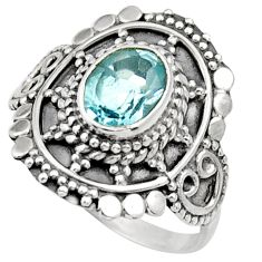 Clearance Sale- 2.01cts natural blue topaz 925 sterling silver solitaire ring size 7.5 d36066