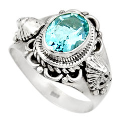 Clearance Sale- 3.14cts natural blue topaz 925 sterling silver solitaire ring size 7 d36072