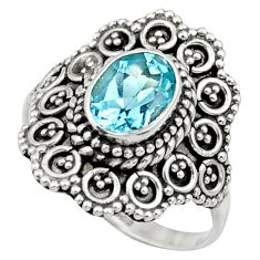 Clearance Sale- 1.94cts natural blue topaz 925 sterling silver solitaire ring size 7.5 d36077