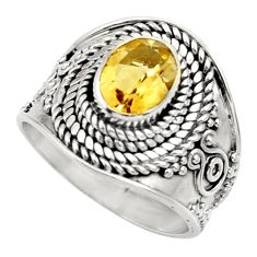 Clearance Sale- 2.20cts natural yellow citrine 925 silver solitaire ring jewelry size 7 d36081