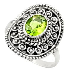 Clearance Sale- 1.94cts natural green peridot 925 silver solitaire ring jewelry size 8 d36085