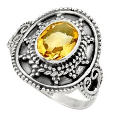 Clearance Sale- 3.19cts natural yellow citrine 925 silver solitaire ring jewelry size 8 d36088