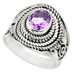 Clearance Sale- 2.11cts natural purple amethyst 925 silver solitaire ring jewelry size 6 d36094