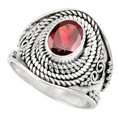 Clearance Sale- 1.95cts natural red garnet 925 sterling silver solitaire ring size 6.5 d36096