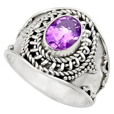Clearance Sale- 2.19cts natural purple amethyst 925 silver solitaire ring jewelry size 8 d36098