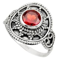 Clearance Sale- 925 sterling silver 2.09cts natural red garnet solitaire ring size 7.5 d36099