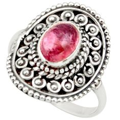 2.23cts natural pink tourmaline 925 silver solitaire ring size 7.5 d36101