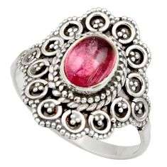 Clearance Sale- 2.13cts natural pink tourmaline 925 silver solitaire ring jewelry size 9 d36115