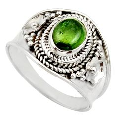 2.01cts natural green tourmaline 925 silver solitaire ring size 6.5 d36116