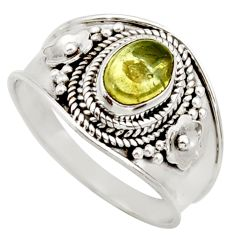 925 silver 2.02cts natural green tourmaline oval solitaire ring size 8.5 d36118
