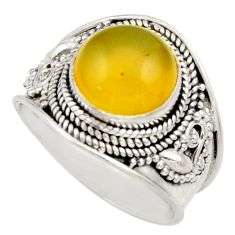 5.11cts natural yellow olive opal 925 silver solitaire ring size 8 d36146
