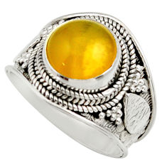 Clearance Sale- 925 silver 4.92cts natural yellow olive opal solitaire ring size 8 d36147