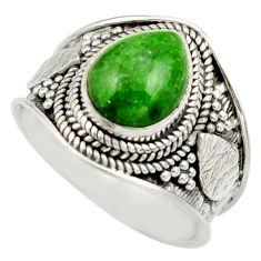 Clearance Sale- 4.27cts natural green chrome diopside 925 silver solitaire ring size 7.5 d36150