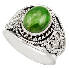 Clearance Sale- 4.40cts natural green chrome diopside 925 silver solitaire ring size 7.5 d36151