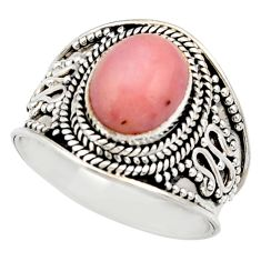 Clearance Sale- 925 sterling silver 3.90cts natural pink opal oval solitaire ring size 8 d36154
