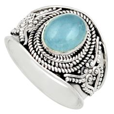 Clearance Sale- 3.13cts natural blue aquamarine 925 silver solitaire ring jewelry size 7 d36155