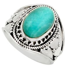 Clearance Sale- 4.63cts natural green peruvian amazonite 925 silver solitaire ring size 8 d36156