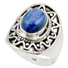 Clearance Sale- 4.38cts natural blue kyanite 925 sterling silver solitaire ring size 7.5 d36157