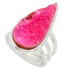 Clearance Sale- 13.71cts natural pink cobalt druzy pear 925 sterling silver ring size 6.5 d36171