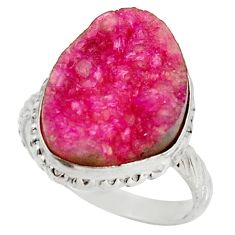 925 sterling silver 10.76cts natural pink cobalt druzy fancy ring size 8 d36172