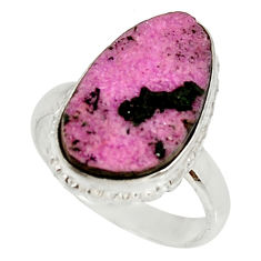 Clearance Sale- 10.24cts natural pink cobalt druzy 925 sterling silver ring size 7.5 d36174