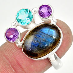 Clearance Sale- 10.33cts natural blue labradorite amethyst topaz 925 silver ring size 7 d36180