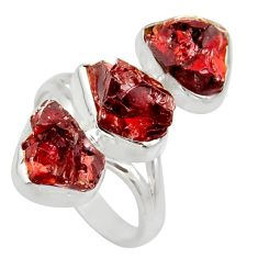 15.97cts natural red garnet rough 925 sterling silver ring jewelry size 8 d36186