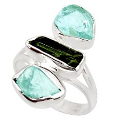 Clearance Sale- 12.06cts natural tourmaline rough aquamarine rough 925 silver ring size 9 d36190