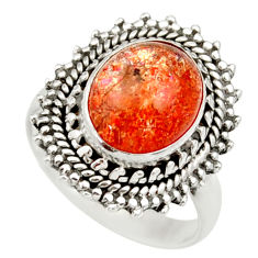 Clearance Sale- 5.31cts natural orange sunstone 925 silver solitaire ring size 7 d36194