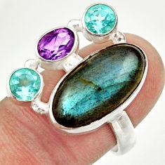 blue labradorite amethyst topaz 925 silver ring size 8 d36197