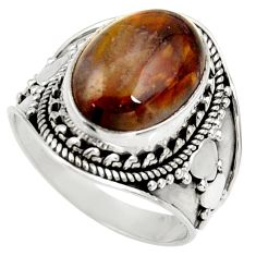 Clearance Sale- 6.63cts natural brown vaquilla agate 925 silver solitaire ring size 8 d36339
