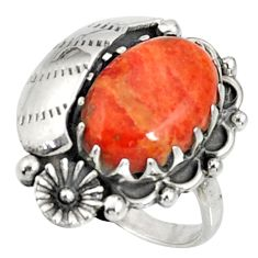 Clearance Sale- 6.26cts red copper turquoise 925 silver flower solitaire ring size 7 d36962