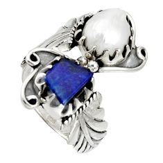Clearance Sale- 925 silver 8.27cts natural white biwa pearl lapis lazuli ring size 9.5 d36965