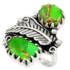 Clearance Sale- 7.62cts green copper turquoise 925 sterling silver ring jewelry size 6.5 d36972