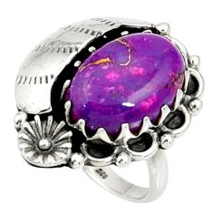 Clearance Sale- 6.03cts purple copper turquoise 925 silver flower solitaire ring size 6.5 d36973