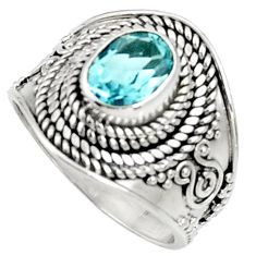 Clearance Sale- 925 sterling silver 2.20cts natural blue topaz oval solitaire ring size 7 d37193