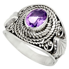 Clearance Sale- 2.19cts natural purple amethyst 925 silver solitaire ring jewelry size 8 d37194