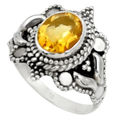Clearance Sale- 3.50cts natural yellow citrine 925 sterling silver solitaire ring size 7 d37195