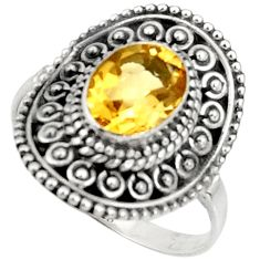 Clearance Sale- 925 sterling silver 3.28cts natural yellow citrine solitaire ring size 9 d37197