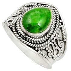 Clearance Sale- 4.52cts natural green chrome diopside 925 silver solitaire ring size 8 d37211