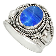 Clearance Sale- 3.58cts natural doublet opal australian 925 silver solitaire ring size 7 d37214