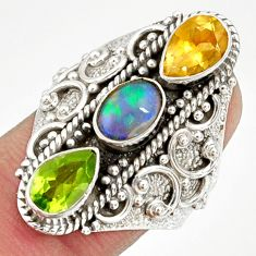 4.21cts natural multi color ethiopian opal citrine silver ring size 7.5 d37282