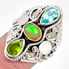 Clearance Sale- 5.08cts natural multi color ethiopian opal peridot 925 silver ring size 7 d37289