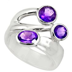 Clearance Sale- 925 sterling silver 3.74cts natural purple amethyst ring jewelry size 6.5 d37304