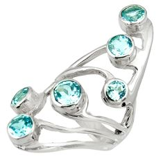 925 sterling silver 5.93cts natural blue topaz ring jewelry size 5.5 d37310